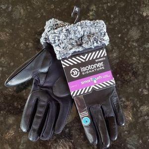 Black Isotoner stretch leather gloves w/ gray fur